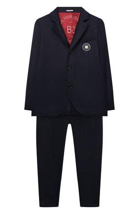 Детский шерстяной костюм BRUNELLO CUCINELLI синего цвета, арт. BA428A119B | Фото 1 (Рукава: Длинные; Материал внешний: Шерсть; Материал подклада: Купро; Кросс-КТ: костюм; Ростовка одежда: 10 - 11 лет | 140 - 146см, 8 лет | 128 см)