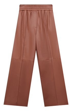 Детские кожаные брюки BRUNELLO CUCINELLI розового цвета, арт. BPTANP044B | Фото 1 (Материал подклада: Синтетический материал; Девочки Кросс-КТ: Брюки-одежда; Ростовка одежда: 10 - 11 лет | 140 - 146см, 8 лет | 128 см)