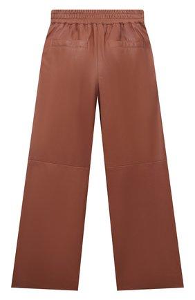 Детские кожаные брюки BRUNELLO CUCINELLI розового цвета, арт. BPTANP044B | Фото 2 (Материал подклада: Синтетический материал; Девочки Кросс-КТ: Брюки-одежда; Ростовка одежда: 10 - 11 лет | 140 - 146см, 8 лет | 128 см)