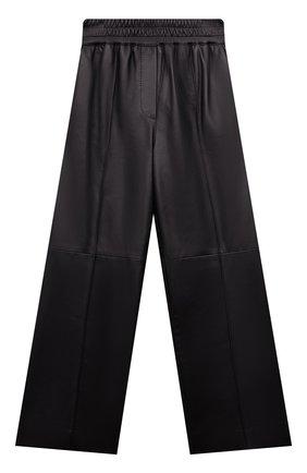 Детские кожаные брюки BRUNELLO CUCINELLI черного цвета, арт. BPTANP044B | Фото 1 (Материал подклада: Синтетический материал; Девочки Кросс-КТ: Брюки-одежда; Ростовка одежда: 10 - 11 лет | 140 - 146см, 8 лет | 128 см)