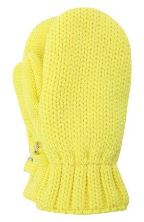 Детские шерстяные варежки IL TRENINO желтого цвета, арт. 21 4062/18 | Фото 1 (Материал: Шерсть)