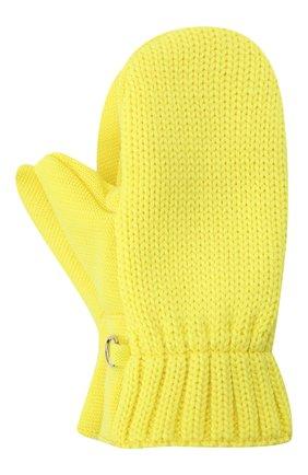 Детские шерстяные варежки IL TRENINO желтого цвета, арт. 21 4062 | Фото 1 (Материал: Шерсть)
