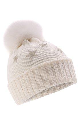 Детского шерстяная шапка с мехом IL TRENINO белого цвета, арт. 21 5751 | Фото 1 (Материал: Шерсть)