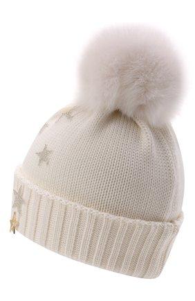 Детского шерстяная шапка с мехом IL TRENINO белого цвета, арт. 21 5751 | Фото 2 (Материал: Шерсть)