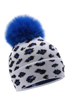 Детского шерстяная шапка с мехом IL TRENINO синего цвета, арт. 21 5800 | Фото 1 (Материал: Шерсть)