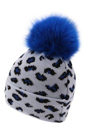 Детского шерстяная шапка с мехом IL TRENINO синего цвета, арт. 21 5800 | Фото 2 (Материал: Шерсть)