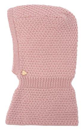 Детского шерстяная шапка-балаклава IL TRENINO розового цвета, арт. 19 5970 | Фото 1 (Материал: Шерсть)