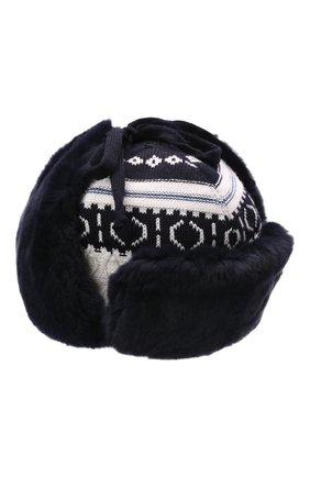 Детского шерстяная шапка-ушанка IL TRENINO темно-синего цвета, арт. 21 5611 | Фото 1 (Материал: Шерсть)