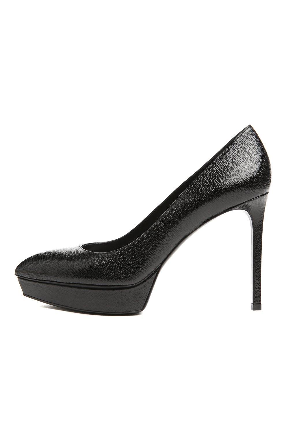 7da073e7b098 Женские черные кожаные туфли janis на шпильке SAINT LAURENT — купить ...