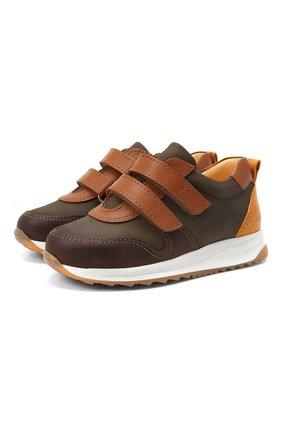 Детские кожаные кроссовки ANGULUS коричневого цвета, арт. 3300-101/30-36   Фото 1 (Материал внутренний: Натуральная кожа; Кросс-КТ: велькро)