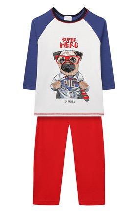 Женская хлопковая пижама LA PERLA разноцветного цвета, арт. 55242/2A-6A   Фото 1 (Материал внешний: Хлопок; Рукава: Длинные; Ростовка одежда: 2 года   92 см, 3 года   98 см, 4 года   104 см, 5 лет   110 см, 6 лет   116 см)