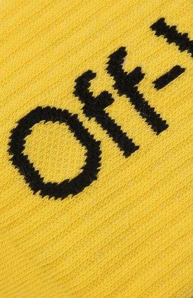 Детские хлопковые носки OFF-WHITE желтого цвета, арт. 0BRA001F21KNI001   Фото 2 (Материал: Хлопок, Текстиль)