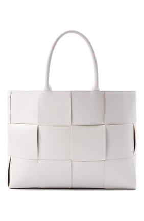 Мужская кожаная сумка-тоут BOTTEGA VENETA белого цвета, арт. 620623/VB1K0   Фото 1 (Материал: Натуральная кожа)