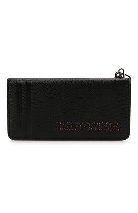 Мужской кожаное портмоне HARLEY-DAVIDSON черного цвета, арт. PM7700L-Black   Фото 1