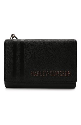 Мужской кожаное портмоне HARLEY-DAVIDSON черного цвета, арт. PM7722L-Black   Фото 1