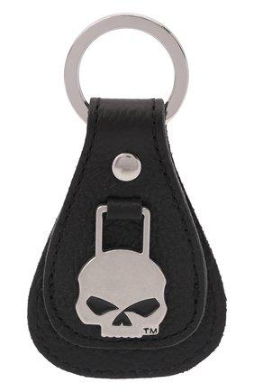 Мужской кожаный брелок HARLEY-DAVIDSON черного цвета, арт. XFL0023-Black   Фото 1