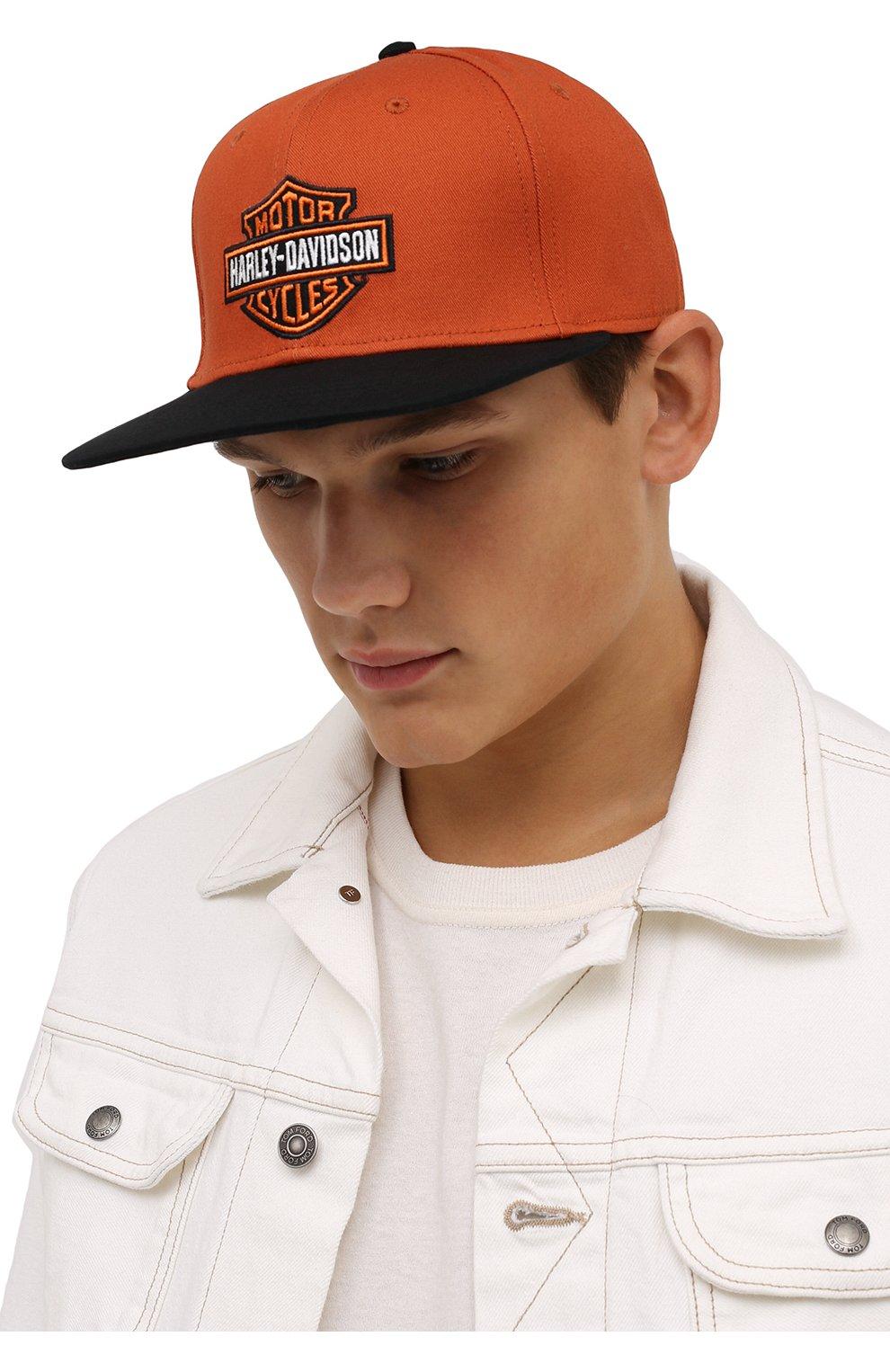 Мужской хлопковая бейсболка HARLEY-DAVIDSON оранжевого цвета, арт. 97700-21VM | Фото 2 (Материал: Текстиль, Хлопок)