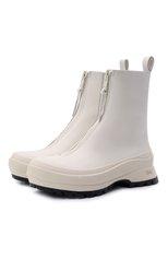 Женские кожаные ботинки JIL SANDER кремвого цвета, арт. JP37002A-14513 | Фото 1 (Каблук высота: Низкий; Подошва: Платформа; Материал внутренний: Натуральная кожа; Женское Кросс-КТ: Челси-ботинки)