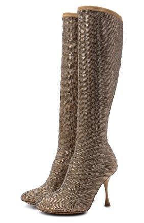 Женские кожаные сапоги dot BOTTEGA VENETA золотого цвета, арт. 667172/V15G1   Фото 1 (Каблук высота: Высокий; Материал внутренний: Натуральная кожа; Подошва: Плоская; Высота голенища: Средние; Каблук тип: Шпилька)