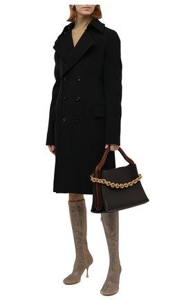 Женские кожаные сапоги dot BOTTEGA VENETA золотого цвета, арт. 667172/V15G1   Фото 2 (Каблук высота: Высокий; Материал внутренний: Натуральная кожа; Подошва: Плоская; Высота голенища: Средние; Каблук тип: Шпилька)
