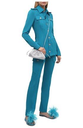 Женские кожаные сандалии dot BOTTEGA VENETA бирюзового цвета, арт. 667678/VBSF4 | Фото 2 (Каблук высота: Низкий; Подошва: Плоская; Материал внутренний: Натуральная кожа)
