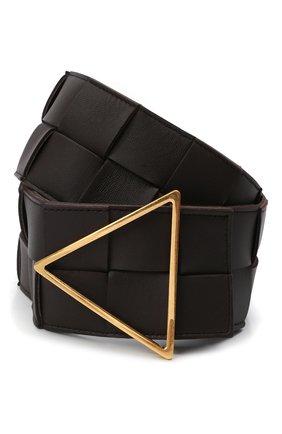 Женский кожаный ремень BOTTEGA VENETA темно-коричневого цвета, арт. 651252/VMAY2 | Фото 1 (Кросс-КТ: Широкие)