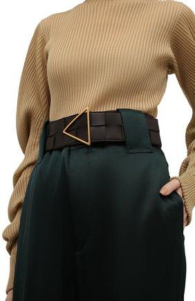 Женский кожаный ремень BOTTEGA VENETA темно-коричневого цвета, арт. 651252/VMAY2 | Фото 2 (Кросс-КТ: Широкие)