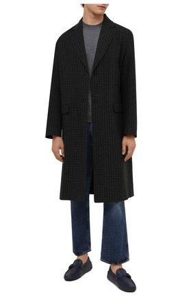 Мужские кожаные мокасины TOD'S темно-синего цвета, арт. XXM64C0E050D90 | Фото 2 (Материал внутренний: Натуральная кожа; Стили: Кэжуэл)