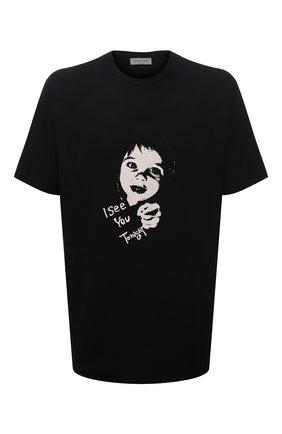 Мужская хлопковая футболка YOHJI YAMAMOTO черного цвета, арт. HX-T91-077 | Фото 1 (Материал внешний: Хлопок; Рукава: Короткие; Длина (для топов): Удлиненные; Принт: С принтом)
