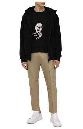 Мужская хлопковая футболка YOHJI YAMAMOTO черного цвета, арт. HX-T91-077 | Фото 2 (Материал внешний: Хлопок; Рукава: Короткие; Длина (для топов): Удлиненные; Принт: С принтом)