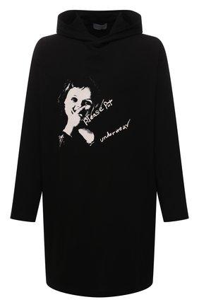 Мужская хлопковый лонгслив YOHJI YAMAMOTO черного цвета, арт. HX-T73-078 | Фото 1 (Материал внешний: Хлопок; Длина (для топов): Удлиненные; Рукава: Длинные; Принт: С принтом)