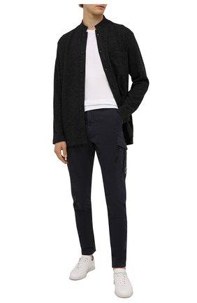 Мужской шерстяной кардиган YOHJI YAMAMOTO темно-серого цвета, арт. HX-T61-172 | Фото 2 (Длина (для топов): Удлиненные; Материал внешний: Шерсть; Рукава: Длинные; Мужское Кросс-КТ: Кардиган-одежда; Стили: Минимализм)