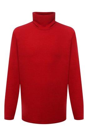Мужской шерстяная водолазка YOHJI YAMAMOTO красного цвета, арт. HX-T05-170 | Фото 1 (Длина (для топов): Удлиненные; Рукава: Длинные; Материал внешний: Шерсть; Мужское Кросс-КТ: Водолазка-одежда; Принт: Без принта; Стили: Минимализм)