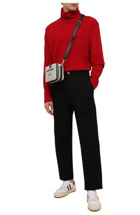 Мужской шерстяная водолазка YOHJI YAMAMOTO красного цвета, арт. HX-T05-170 | Фото 2 (Длина (для топов): Удлиненные; Рукава: Длинные; Материал внешний: Шерсть; Мужское Кросс-КТ: Водолазка-одежда; Принт: Без принта; Стили: Минимализм)