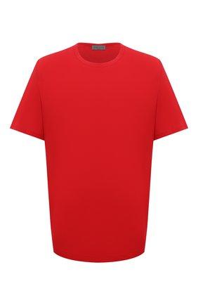 Мужская хлопковая футболка YOHJI YAMAMOTO красного цвета, арт. HX-T02-070 | Фото 1 (Материал внешний: Хлопок; Рукава: Короткие; Длина (для топов): Удлиненные; Принт: Без принта)