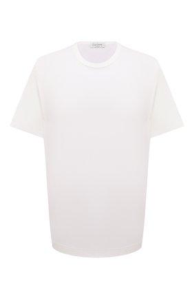 Мужская хлопковая футболка YOHJI YAMAMOTO белого цвета, арт. HX-T02-070 | Фото 1 (Рукава: Короткие; Длина (для топов): Удлиненные; Материал внешний: Хлопок; Принт: Без принта)