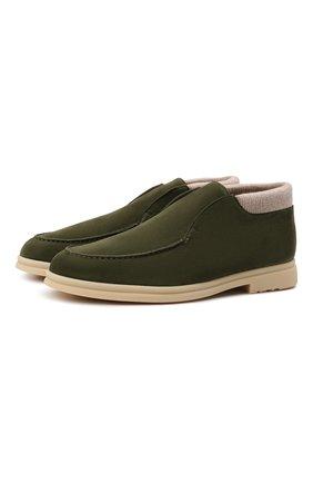 Мужские замшевые ботинки open wintery walk LORO PIANA темно-зеленого цвета, арт. FAI8720 | Фото 1 (Материал внутренний: Натуральная кожа; Мужское Кросс-КТ: Ботинки-обувь; Подошва: Плоская; Материал внешний: Замша)