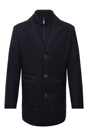 Мужская утепленная куртка CANALI синего цвета, арт. 010379/SG02130 | Фото 1 (Материал подклада: Синтетический материал; Материал внешний: Шерсть; Кросс-КТ: Куртка; Рукава: Длинные; Длина (верхняя одежда): До середины бедра; Мужское Кросс-КТ: утепленные куртки; Стили: Классический)