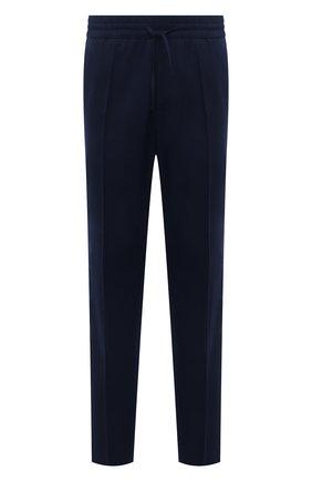 Мужские шерстяные брюки VERSACE темно-синего цвета, арт. 1001015/1A00899 | Фото 1 (Материал внешний: Шерсть; Случай: Повседневный; Стили: Кэжуэл; Длина (брюки, джинсы): Стандартные)