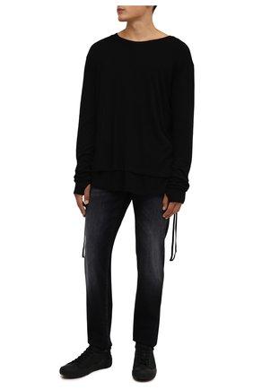 Мужские кожаные кеды KENZO черного цвета, арт. FB65SN430L61 | Фото 2 (Подошва: Массивная; Материал внутренний: Текстиль)