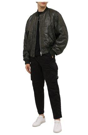 Мужская хлопковый лонгслив C.P. COMPANY черного цвета, арт. 11CMTS283A-006137G | Фото 2 (Материал внешний: Хлопок; Длина (для топов): Стандартные; Рукава: Длинные; Принт: С принтом)
