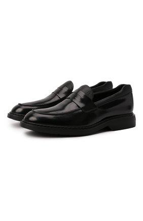 Мужские кожаные пенни-лоферы HOGAN черного цвета, арт. HXM5760DU50QFY   Фото 1 (Материал внутренний: Натуральная кожа, Текстиль; Стили: Классический)