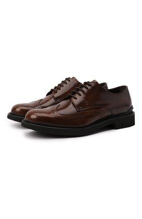 Мужские кожаные дерби TOD'S коричневого цвета, арт. XXM06H0EP60AKT | Фото 1 (Материал внутренний: Натуральная кожа; Стили: Классический; Мужское Кросс-КТ: Броги-обувь)