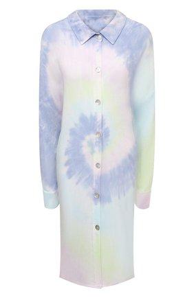 Женская рубашка из вискозы ELECTRIC&ROSE разноцветного цвета, арт. LFCV39-AURA   Фото 1 (Рукава: Длинные; Материал внешний: Вискоза; Длина (для топов): Удлиненные; Стили: Спорт-шик; Принт: С принтом; Женское Кросс-КТ: Рубашка-одежда)