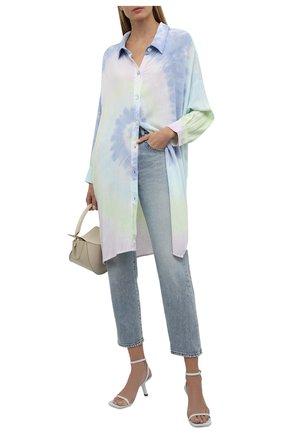 Женская рубашка из вискозы ELECTRIC&ROSE разноцветного цвета, арт. LFCV39-AURA   Фото 2 (Рукава: Длинные; Материал внешний: Вискоза; Длина (для топов): Удлиненные; Стили: Спорт-шик; Принт: С принтом; Женское Кросс-КТ: Рубашка-одежда)