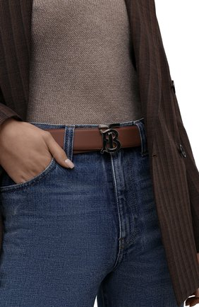 Женский кожаный ремень BURBERRY коричневого цвета, арт. 8046537   Фото 2