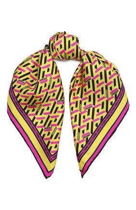 Женский шелковый платок VERSACE желтого цвета, арт. 1001601/1A01902 | Фото 1 (Материал: Текстиль, Шелк; Принт: С принтом)
