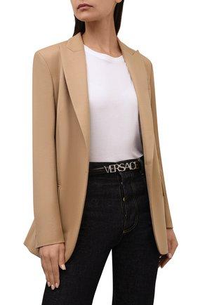 Женский кожаный ремень VERSACE черного цвета, арт. 1002236/DVTP1 | Фото 2 (Кросс-КТ: Тонкие)