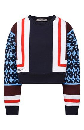 Женский хлопковый свитшот VALENTINO синего цвета, арт. WB3MF11Y6LD   Фото 1 (Рукава: Длинные; Материал внешний: Хлопок; Длина (для топов): Укороченные; Стили: Спорт-шик; Женское Кросс-КТ: Свитшот-одежда)
