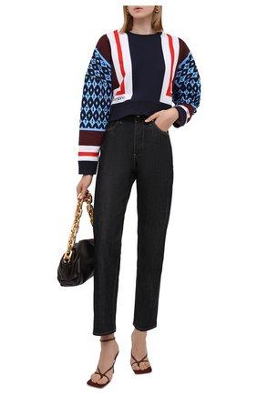 Женский хлопковый свитшот VALENTINO синего цвета, арт. WB3MF11Y6LD   Фото 2 (Рукава: Длинные; Материал внешний: Хлопок; Длина (для топов): Укороченные; Стили: Спорт-шик; Женское Кросс-КТ: Свитшот-одежда)